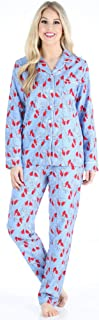 Image of Bird Red Cardinal Flannel Pajamas for Women