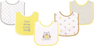 Luvable Friends 5 Piece Drooler Bib with Waterproof Backing, Owl