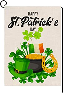 St. Patrick's Day Garden Flag Shamrocks Clover Vertical Double Sided Flag Gold Coins Garden Flags for St. Patrick's Day Decoration 12.5 x 18 Inches