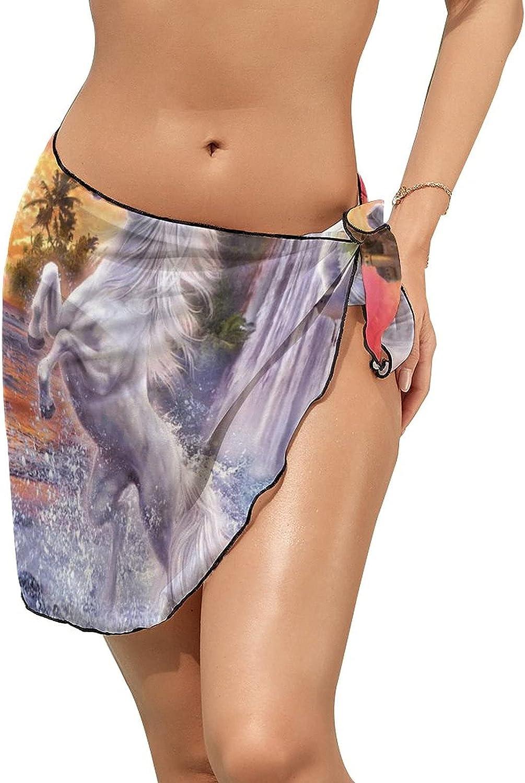 JINJUELS Women Beach Wrap Skirt Chiffon Sarong Pareo Swimsuit Bikini Cover Ups White Galloping Horse House