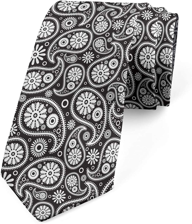 Ambesonne Necktie, Paisley Art, Dress Tie, 3.7