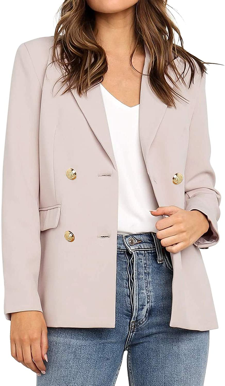 Vetinee Women's Lapel Pockets Blazer Suit Long Sleeve Buttons Work Office Jacket