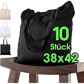 ELES VIDA Bolsa de algodón, 38 x 42 cm, 10 Unidades, sin Estampar, Bolsa de Tela, Bolsa, Bolsa de Yute con Certificado Oeko-Tex® (Negro): Amazon.es: Hogar
