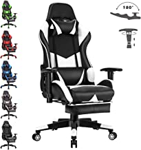 Advwin Gaming Chair Executive Office Computer Chairs Racer Recliner w/Footrest White(67 * 66 * 124-132cm)