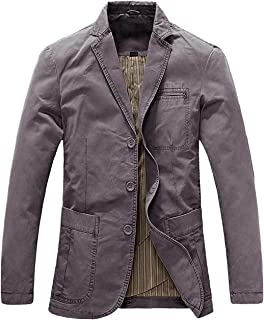 chouyatou Men's Casual Three-Button Stripe Lined Cotton Twill Suit Jacket