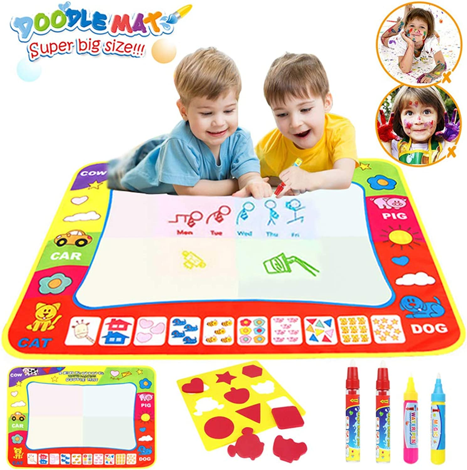 Doodle mat for kids,xhforever 4 color colorful Water Drawing Toys Painting Play Mat Doodle Mat 80cmx60cm +4 Magic Pens + 1 Drawing Shape Board