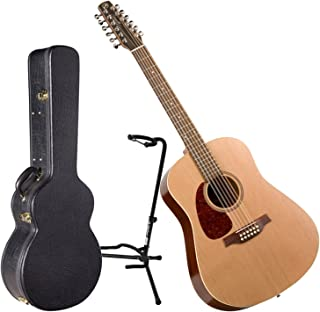 Seagull Coastline S12 Cedar Left Handed Acoustic Guitar w/ Hard Shell Case and Stand