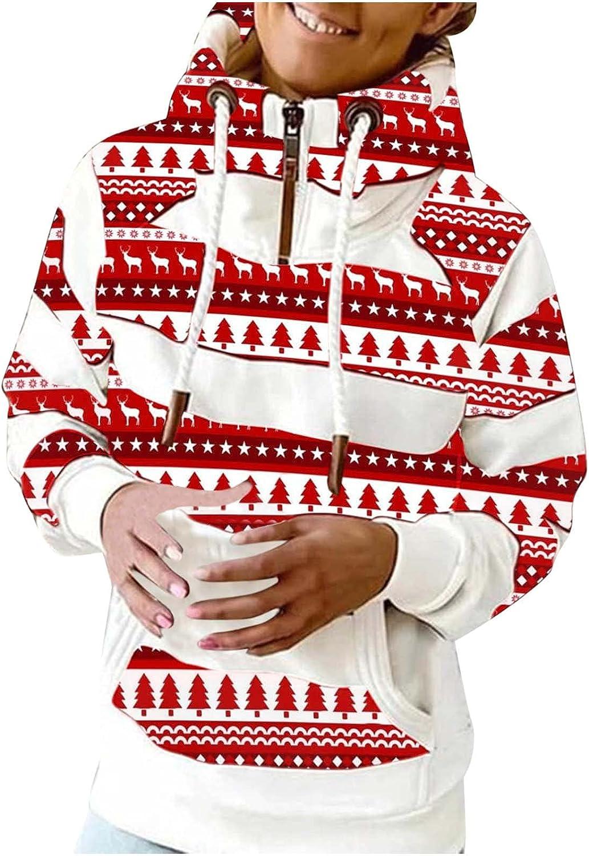 Zip Up Hoodie Women Lightweight Trendy Christmas Moose Prints Turtleneck Sweatshirts Long Sleeve Shirts with Pockets