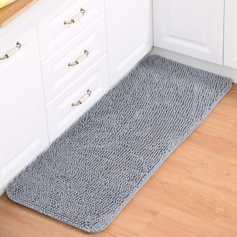 Chenille mat Floor mats Water-Absorption Bathroom Anti-Slip mat Doormat Foot Pad Indoor mats Restroom Kitchen mats-D 70x140cm(28x55inch)