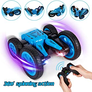 Crenova Remote Control Cars for Kids 1:24 4WD Stunt Car Toy,7.5MPH Double Sided Driving 360° Spin to Bloom,2.4GHz Rechargeable RC Car with Colorful LED Headlights