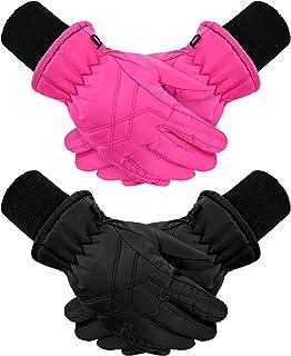 2 Pairs Kids Winter Gloves Waterproof Ski Gloves Child...