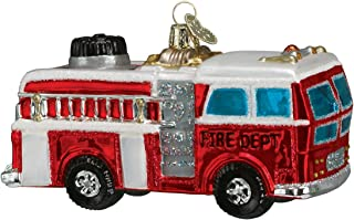 Old World Christmas Ornaments: Fire Truck Glass Blown Ornaments for Christmas Tree