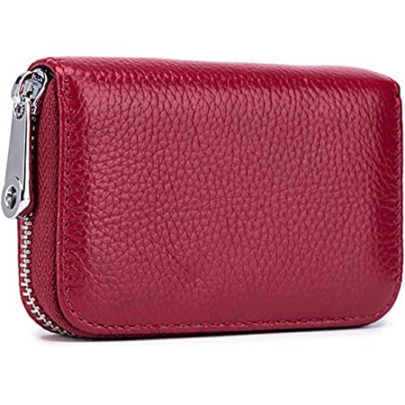 Meowoo Credit Card Holder RFID Blocking Genuine Leather Mini Credit Card Wallet Purse with Zipper for Women Men (Red Wine)