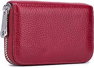 Meowoo RFID Porta Carte Credito Portafoglio Donne Uomo Pelle Cerniera 12 Card slot e 2 Compartimenti (Rosso)