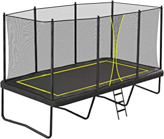 CRINEX Outdoor Gymnastic 10 x 15ft Rectangular Trampoline with Safety Net, Safety Pad and Ladder, Suitable for Kids and Adults, No Single Weight Limit, Black