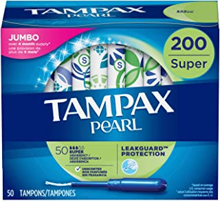 Tampax Pearl Tampons with Plastic Applicator, Super Absorbency, Unscented, 50 Count-Pack of 4 (200 Count Total) ( packaging may vary)