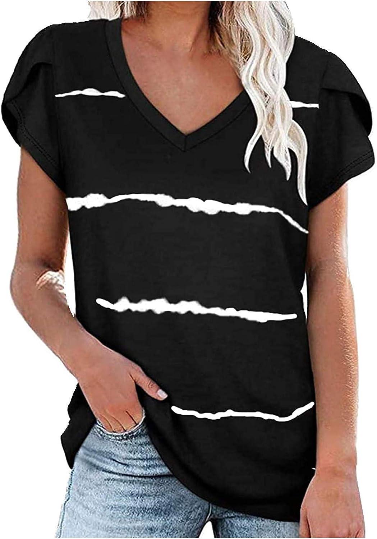 Casual Summer Tops for Women Sleeve Tshirts Striped Sacramento Max 52% OFF Mall Puff Fashion