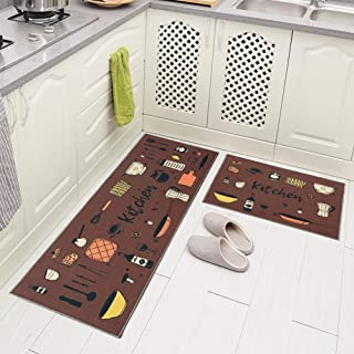 Carvapet 2 Piec Non-Slip Kitchen Rug TPR Anti-Slip Backing Mat for Doorway Bathroom Runner Rug Set, Brown Kitchen Design (17
