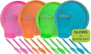 neon plates and cups