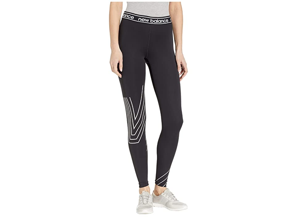 New Balance Printed Accelerate Tights (Black/Silver/White) Women