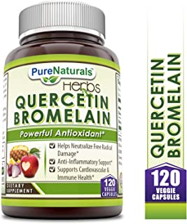 Pure Naturals Quercetin with Bromelain, Veggie Capsules -Reduces Sign of Aging* -Supports Healthy Immune Response* (120Count)