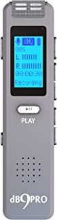 Digital Voice Recorder dB9PRO 8GB Expandable by 32GB 180 Hrs Battery, Rechargeable USB Voice Activated Dictaphone MP3 Player, Audio Recording Device, Built-in Microphone, Speaker for Lectures Meetings