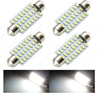 SAWE - 42mm 41mm (1.72) 24-SMD 3014 12V Super Bright Festoon Dome Map Door Trunk Light LED Bulbs 211-2 212-2 569 578 (4 pieces) - White