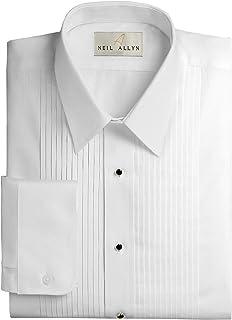 "Neil Allyn Men's Slim FIT Lay-Down Collar 1/4"" Pleats Tuxedo Shirt"