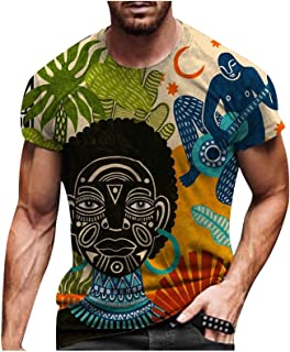 Men's Colourful Print Short Sleeve T-Shirts Street Fashion Casual Printed T-Shirt