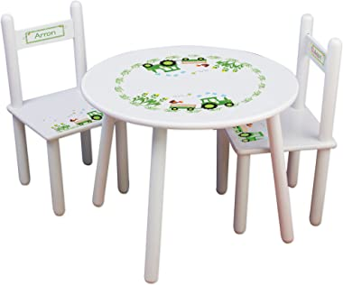Personalized Green Tractor Childrens White Table and Chair Set