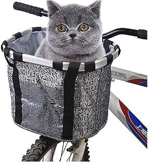 Hopfällbar cykelkorg för transport av katt framtill på styret.