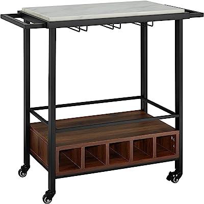 "Walker Edison Furniture Portable Wood & Marble Serving Cart, 34"" - Multiple Finishes"