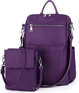 UTO Women's 3 Ways Oxford Casual Backpack Shoulder Bag Handbag Totes with Anti Theft Pocket Detachable Cross Body Bag Shoulder Strap Purple