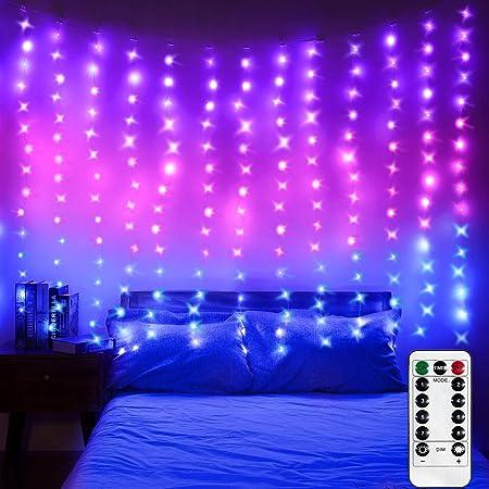 Amazon Com Luces De Cortina De Ventana Led Luces De Fondo De Fotos Luces De Cadena Con Control Remoto Para Bodas Fiestas Dormitorios Decoraciones De Navidad Púrpura Rosa Azul 52 5 X 49 2 Ft