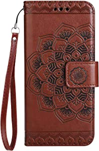 Case  SONWO Mandala Flower Pattern Design Flip Leather Book Wallet Cover Case with Card Slots and Stand for G6  Brown