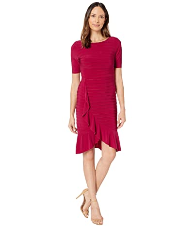 Adrianna Papell Pintucked Ruffled Matte Jersey Sheath Dress (Dark Scarlet) Women