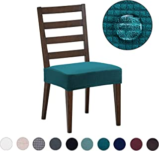 Dining Chair Covers(4 Pack) - Water Repellent,Easy to Install,High Stretch - Dining Room Chair Seat Slipcover/Protector/Shield for Dog Cat Pets,Teal