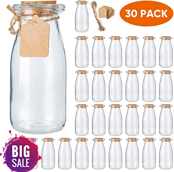 Brajttt 30Pcs Glass Favor Jar With Cork Lids Pudding Jars With Cork Stopper Glass Jars With Ice Cream Glass Yogurt Bottle Round Milk Glass Jars With Tags And Strings 200 ML 7OZ