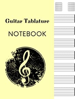 Guitar Tablature Notebook: Standard Blank Tab with 7 Chord Boxes and 7 Staves per Page