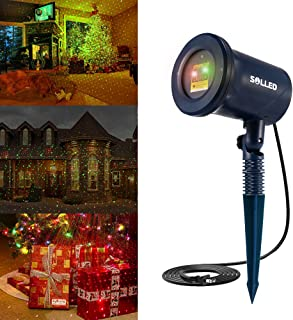 SOLLED Laser Christmas Lights, Outdoor Landscape Projector with Moving Red and Green firefly for Garden, Christmas Decorations
