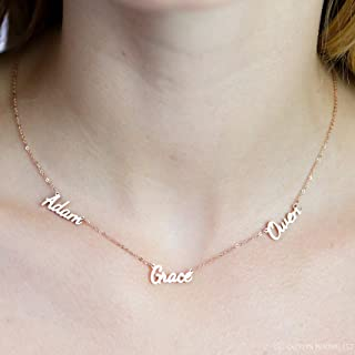 Triple Name Necklace Sterling Silver Multiple Names 18K Gold Best Friends Gift