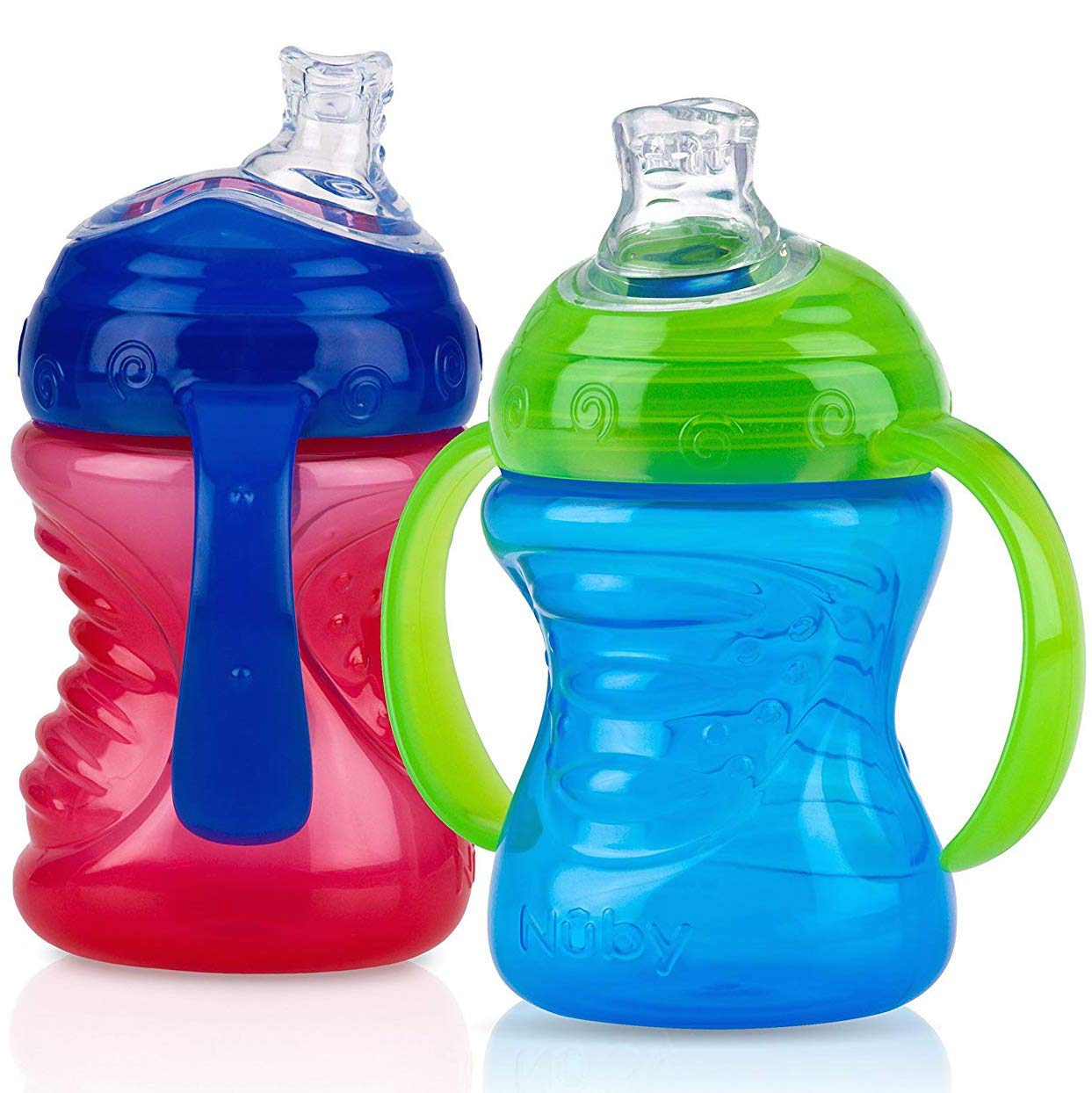 Nuby 2-Pack No-Spill Now on sale Super Spout Grip Sip Red Al sold out. Cup and Blue N'