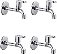 Prestige MAX Long Body-Pack of 4 SS Chrome Finish Long Body Pillar Cock Bib Cock for Bathroom Kitchen Wasbasin tap Faucets Bib Tap Faucet (Wall Mount Installation Type)
