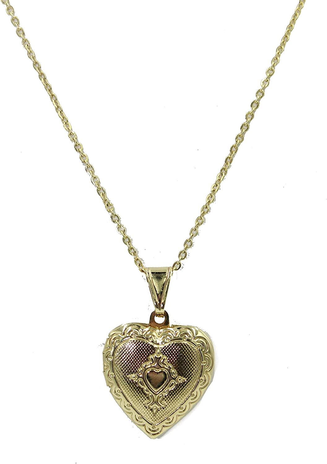Heart Photo Locket Pendant 18k Gold Plated Pendant with 20 Inch Chain - Photo Locket Necklace
