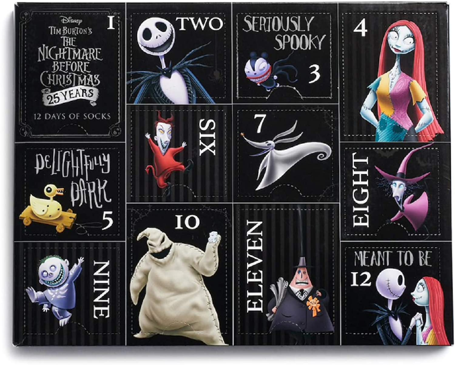 Disney's 25th Anniversary Tim Burton's The Nightmare Before Christmas Ladies 12 Days of Socks shoes Size 410