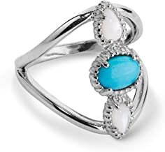 product image for Carolyn Pollack Sterling Silver White Mother of Pearl and Turquoise Three Stone Ring Size 10