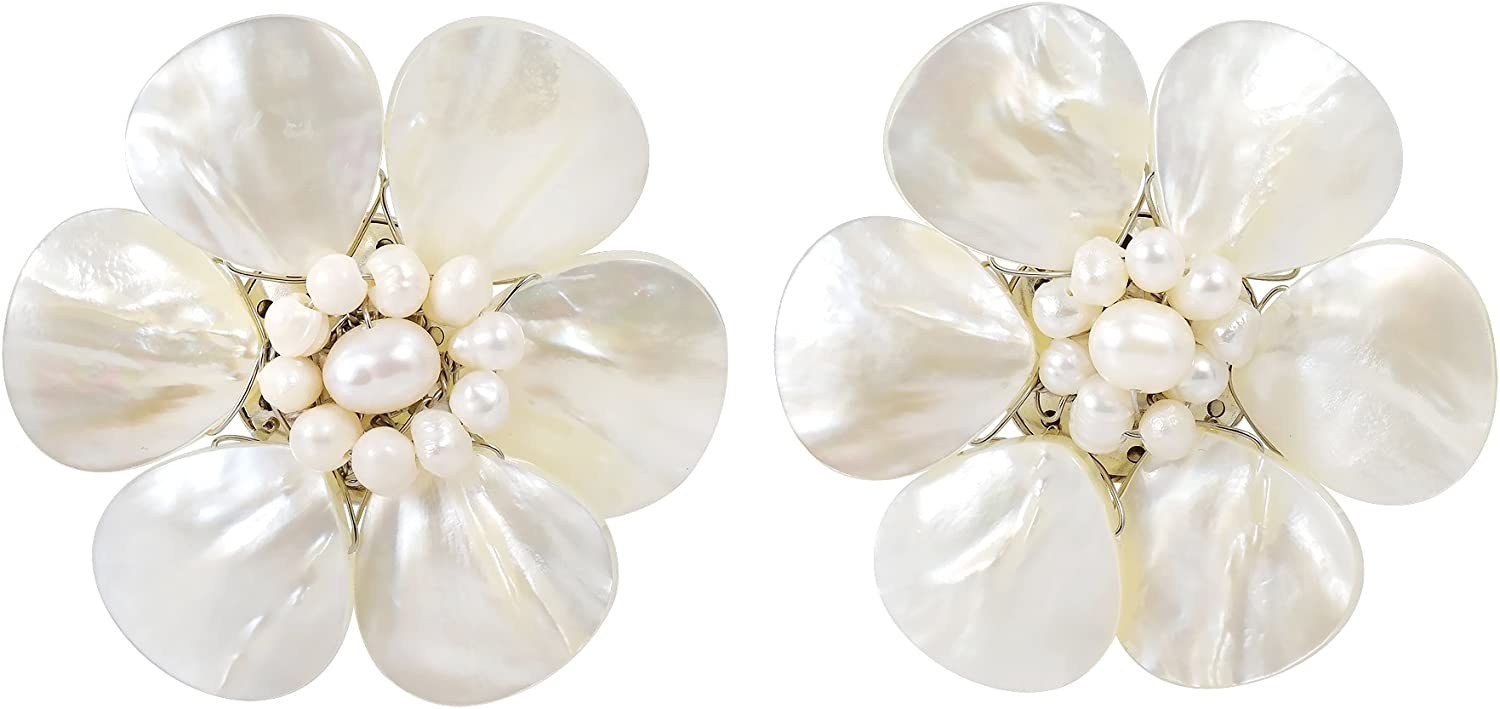 Pretty White Mother of Pearl Shell Flower Clip On Earrings