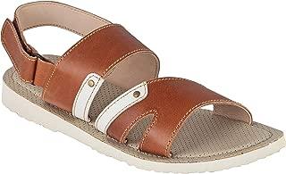 tZaro Super Flexible Light Weight Tan White Color Genuine Leather Sandal - HB Terek, HB602TNWH