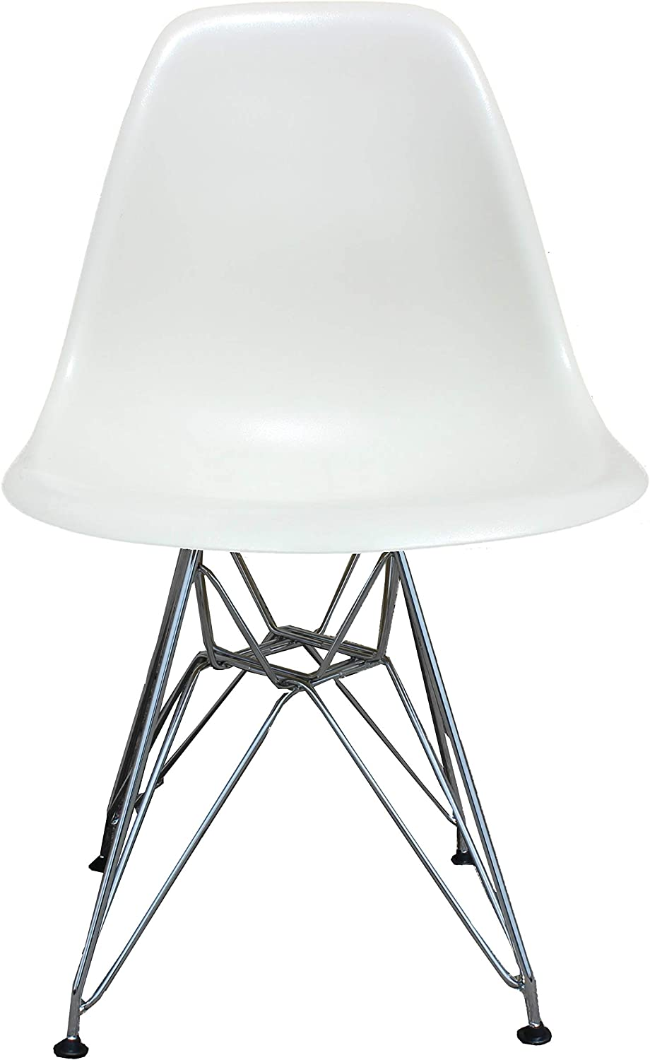 silver Import PDI-PC-016 Eames Style Side Chair with Chrome Legs Eiffel Dining Room Chair, White