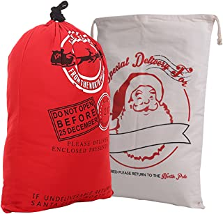 NKTM Santa Claus Gift Sack Giant Canvas Drawstring Bags for Christmas Shopping Bag for Oversized Gift Storage (2 Pack)